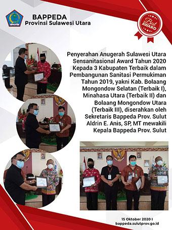 Penyerahan Anugerah Sulawesi Utara Sensanitasional Award Tahun 2020 kepada 3 Kabupaten Terbaik dalam Pembangunan Sanitasi Pemukiman Tahun 2019. Bolaang Mongondow Selatan, TERBAIK 1.